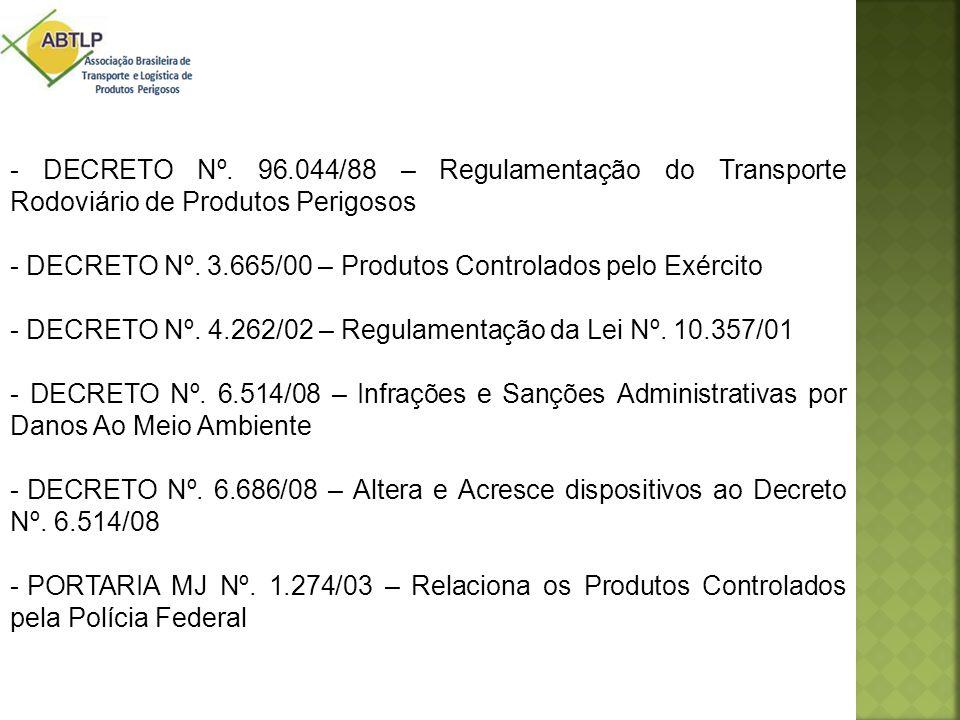 - DECRETO Nº. 96.044/88 – Regulamentação do Transporte Rodoviário de Produtos Perigosos