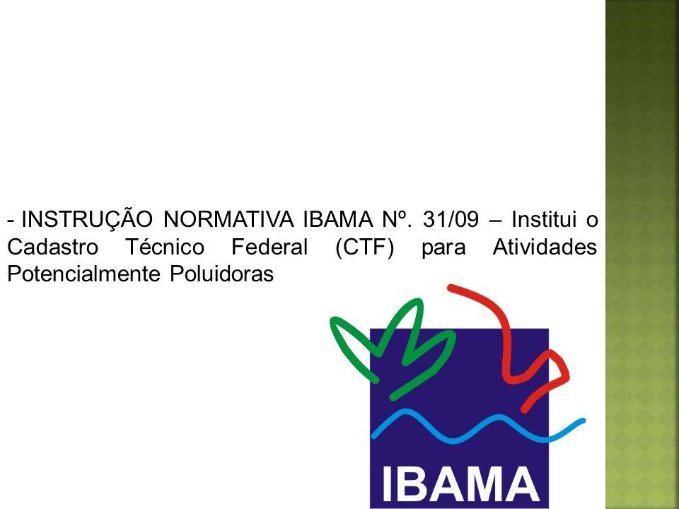 INSTRUÇÃO NORMATIVA IBAMA Nº