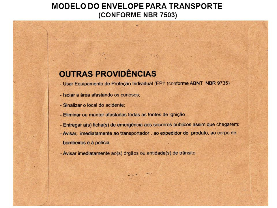 MODELO DO ENVELOPE PARA TRANSPORTE