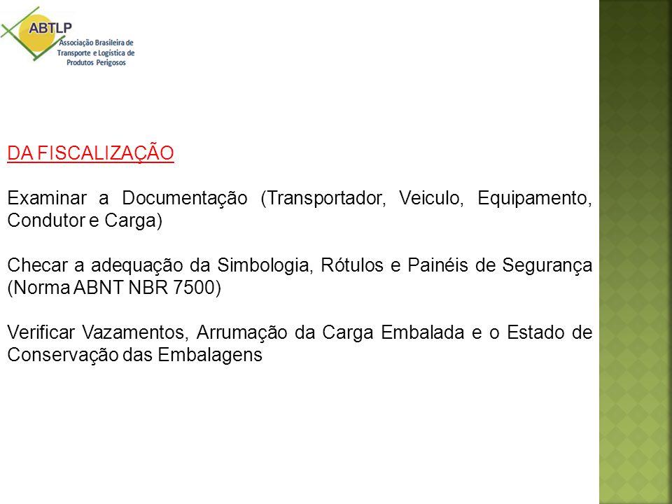 DA FISCALIZAÇÃO Examinar a Documentação (Transportador, Veiculo, Equipamento, Condutor e Carga)