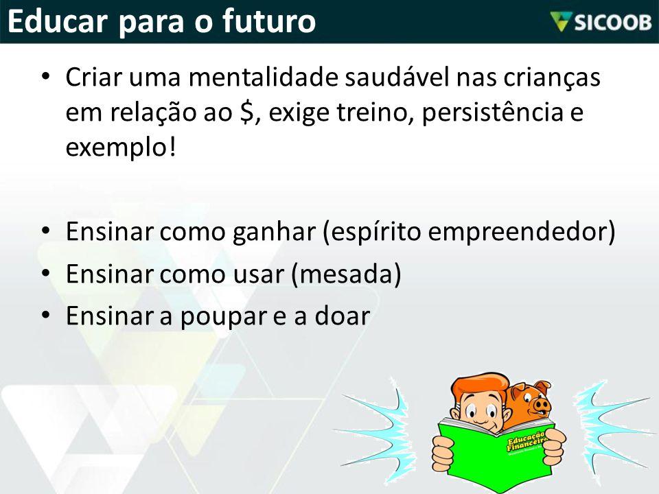 Educar para o futuro Criar uma mentalidade saudável nas crianças em relação ao $, exige treino, persistência e exemplo!