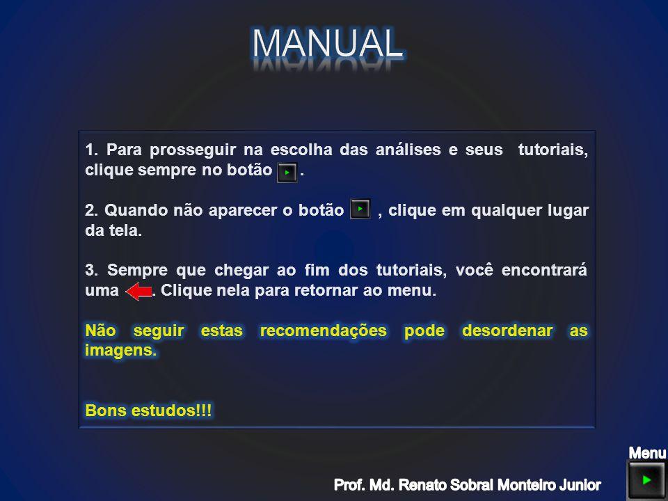MANUAL 1. Para prosseguir na escolha das análises e seus tutoriais, clique sempre no botão .