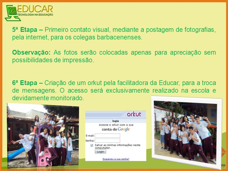 5ª Etapa – Primeiro contato visual, mediante a postagem de fotografias, pela internet, para os colegas barbacenenses.