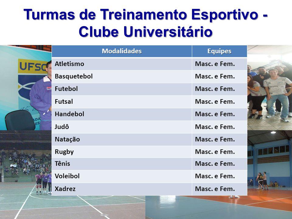 Turmas de Treinamento Esportivo - Clube Universitário
