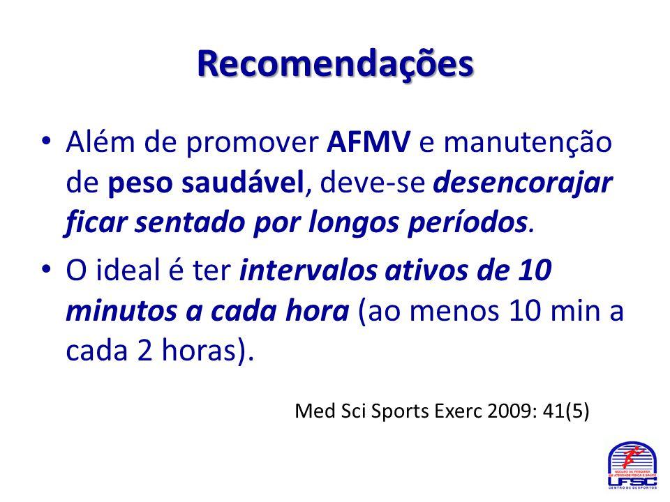 Recomendações Além de promover AFMV e manutenção de peso saudável, deve-se desencorajar ficar sentado por longos períodos.
