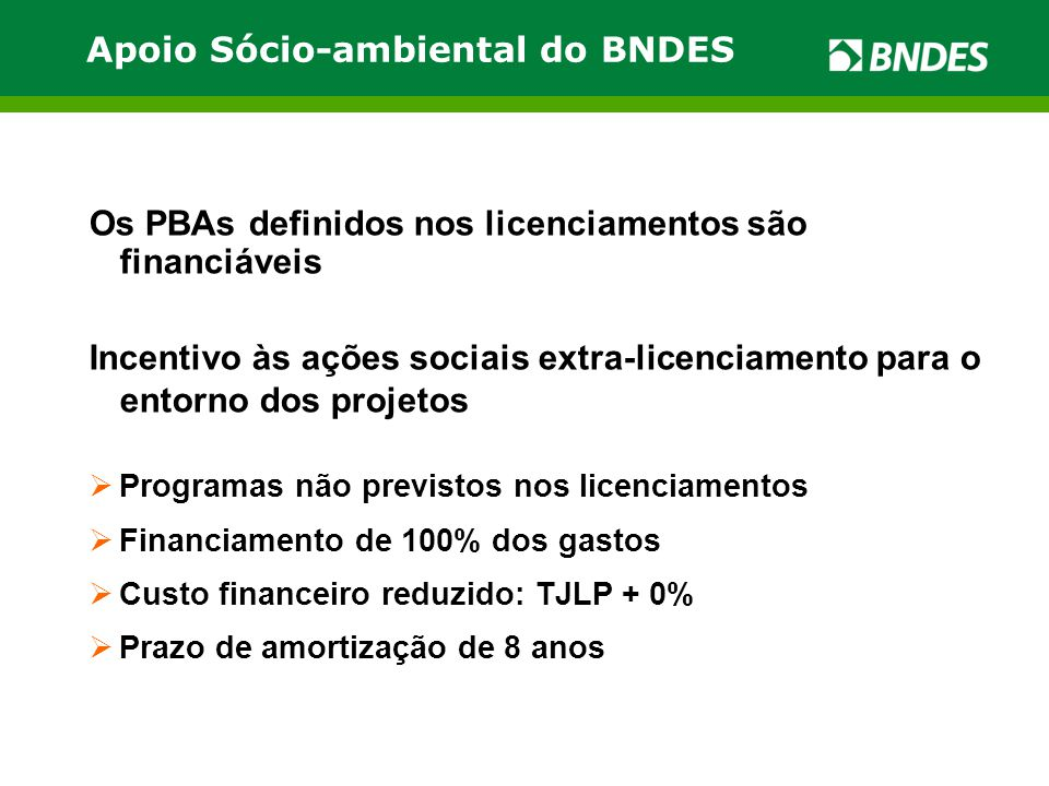 Apoio Sócio-ambiental do BNDES