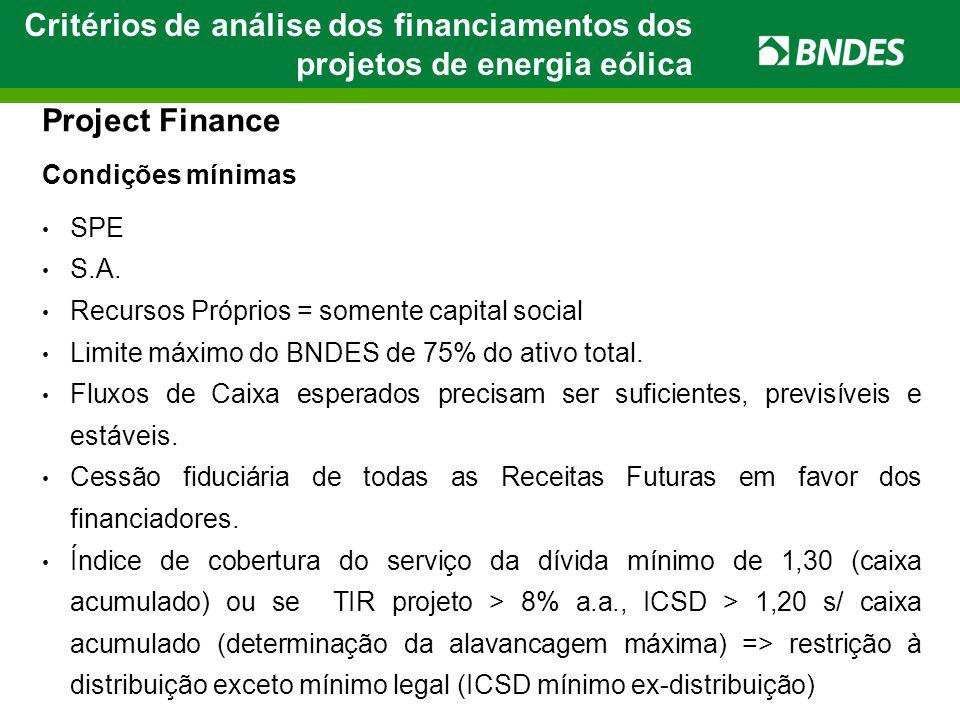Critérios de análise dos financiamentos dos projetos de energia eólica