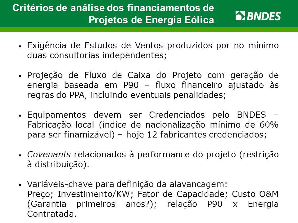 Critérios de análise dos financiamentos de Projetos de Energia Eólica