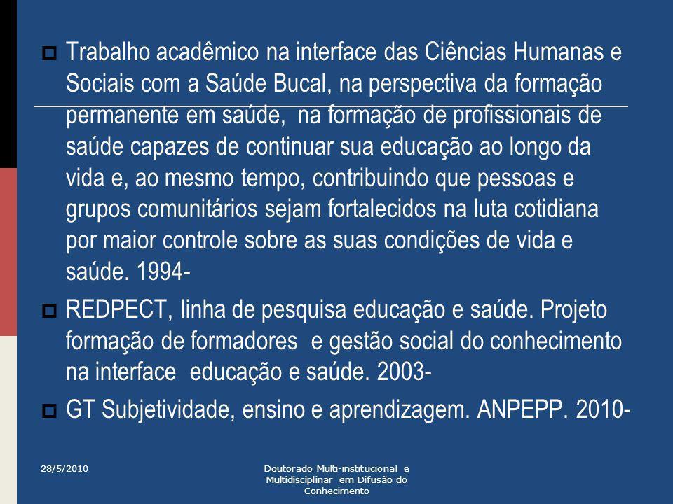 GT Subjetividade, ensino e aprendizagem. ANPEPP. 2010-