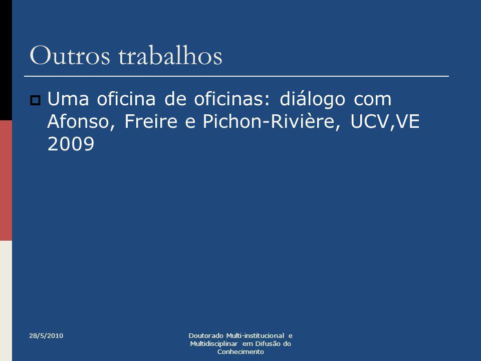 Outros trabalhos Uma oficina de oficinas: diálogo com Afonso, Freire e Pichon-Rivière, UCV,VE 2009.