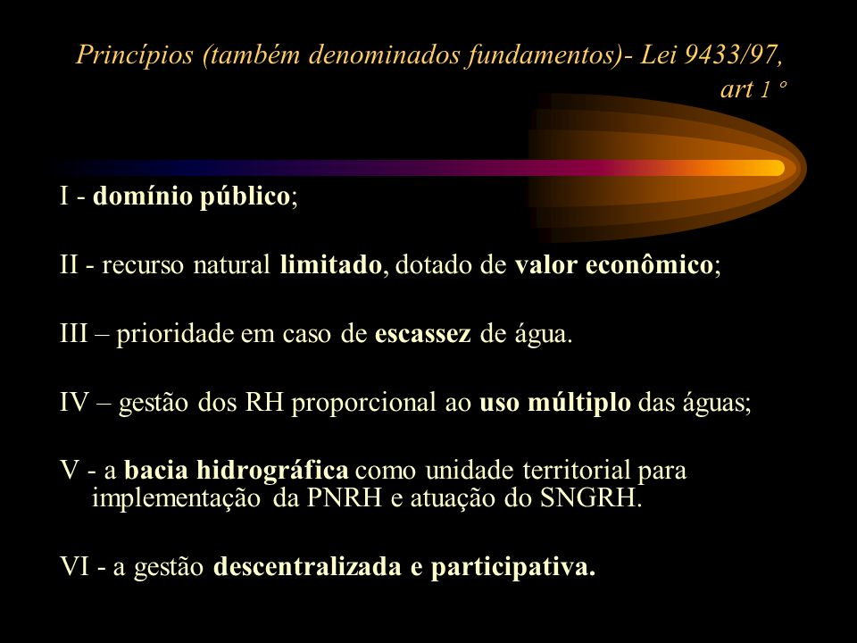 Princípios (também denominados fundamentos)- Lei 9433/97, art 1 º