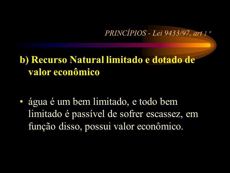 b) Recurso Natural limitado e dotado de valor econômico