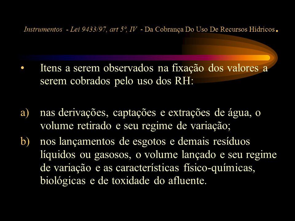 Instrumentos - Lei 9433/97, art 5º, IV - Da Cobrança Do Uso De Recursos Hídricos.