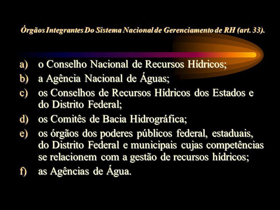 o Conselho Nacional de Recursos Hídricos; a Agência Nacional de Águas;