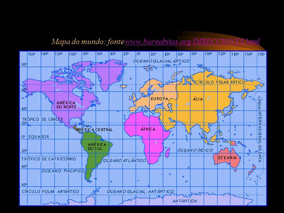 Mapa do mundo: fonte www.barnabitas.org/DIRECCIONES.html