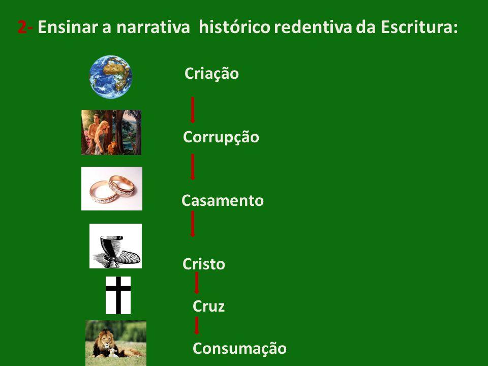 2- Ensinar a narrativa histórico redentiva da Escritura: