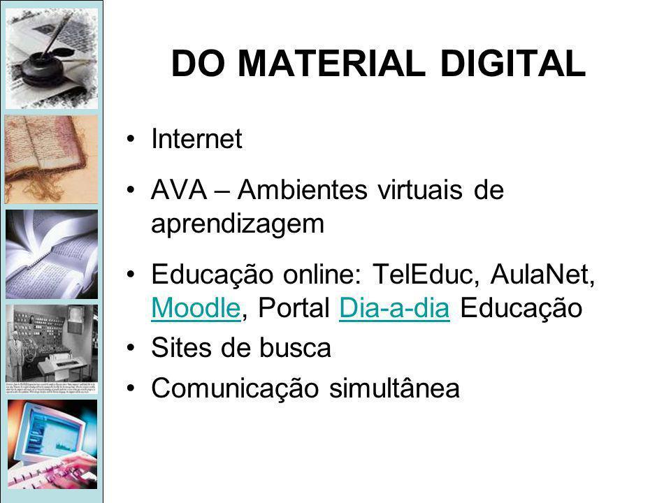 DO MATERIAL DIGITAL Internet AVA – Ambientes virtuais de aprendizagem