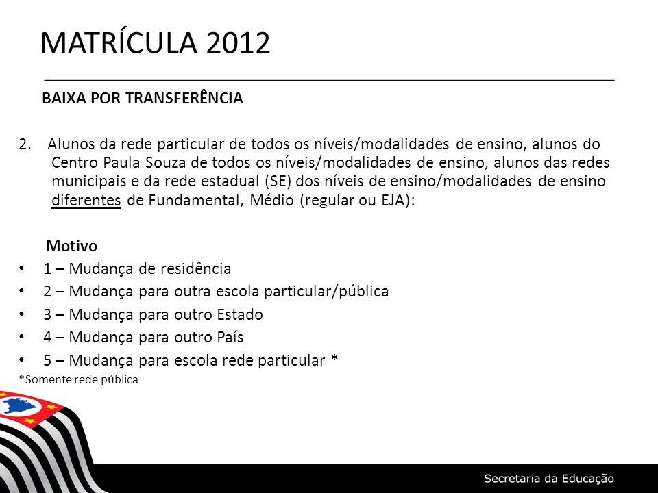 MATRÍCULA 2012 BAIXA POR TRANSFERÊNCIA