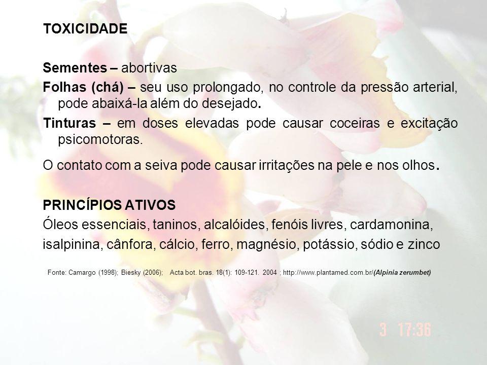 TOXICIDADE Sementes – abortivas. Folhas (chá) – seu uso prolongado, no controle da pressão arterial, pode abaixá-la além do desejado.