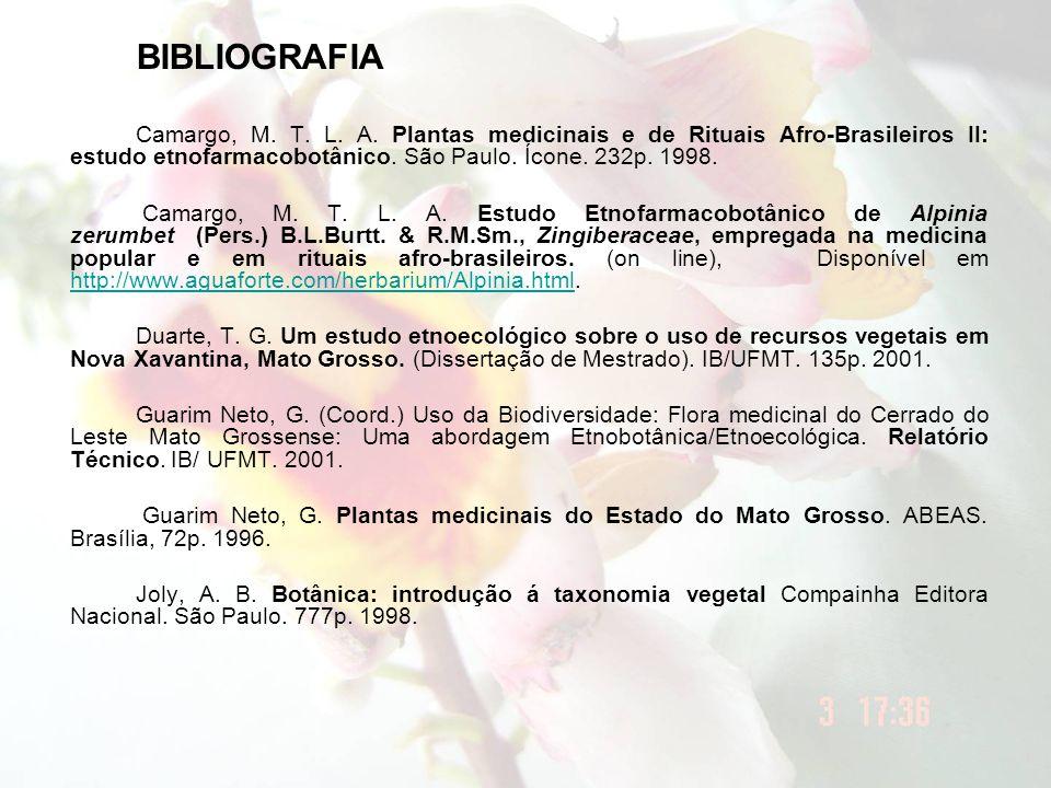 BIBLIOGRAFIA Camargo, M. T. L. A. Plantas medicinais e de Rituais Afro-Brasileiros II: estudo etnofarmacobotânico. São Paulo. Ícone. 232p. 1998.