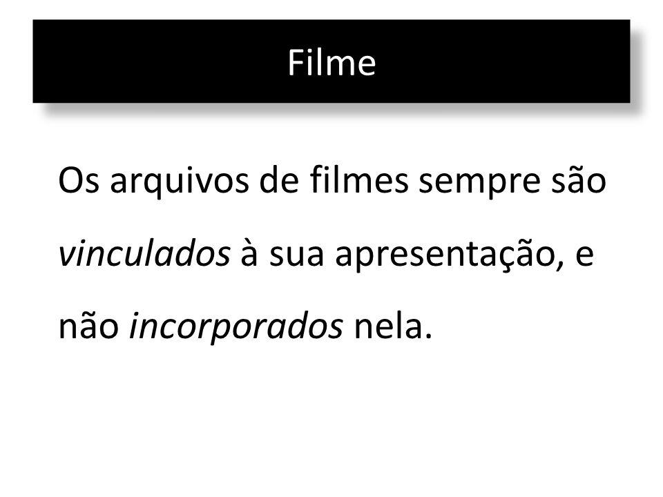 Filme Os arquivos de filmes sempre são vinculados à sua apresentação, e não incorporados nela.