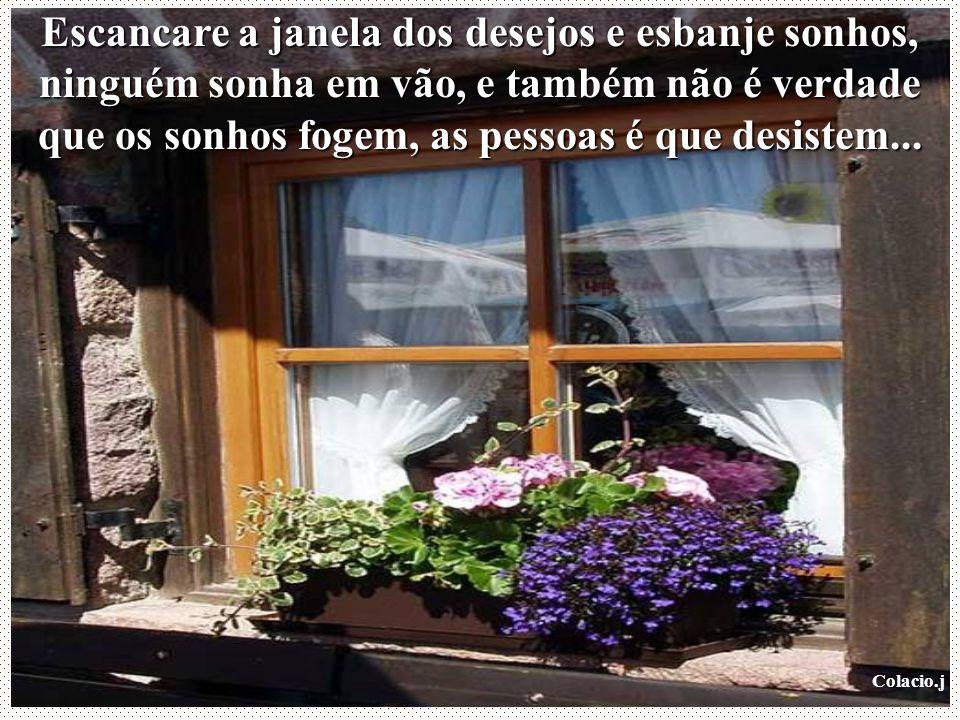 Escancare a janela dos desejos e esbanje sonhos, ninguém sonha em vão, e também não é verdade que os sonhos fogem, as pessoas é que desistem...