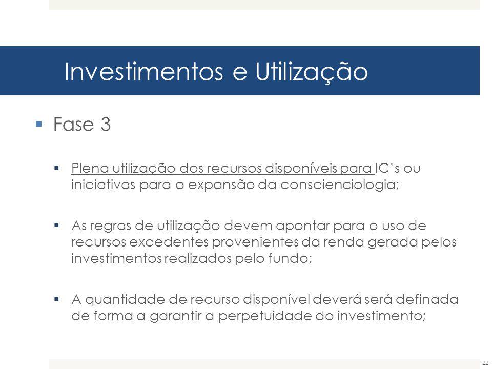 Investimentos e Utilização