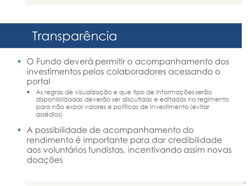 Transparência O Fundo deverá permitir o acompanhamento dos investimentos pelos colaboradores acessando o portal.