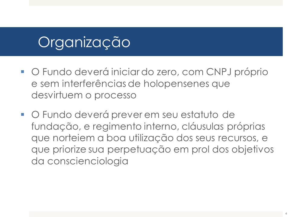 Organização O Fundo deverá iniciar do zero, com CNPJ próprio e sem interferências de holopensenes que desvirtuem o processo.