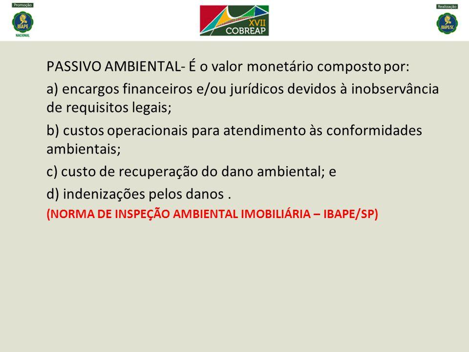 b) custos operacionais para atendimento às conformidades ambientais;