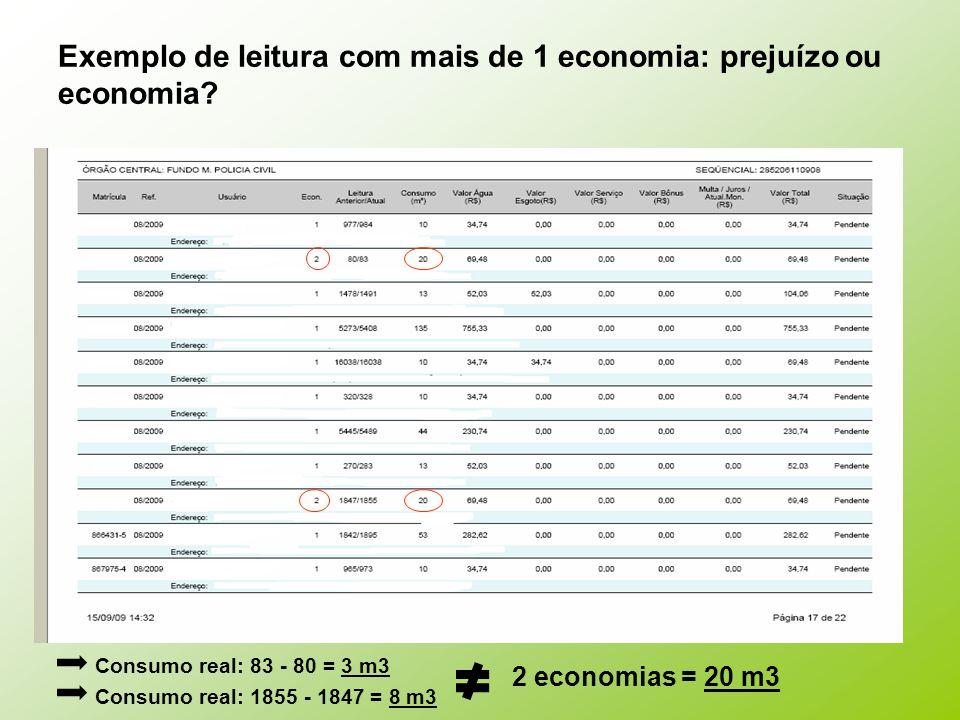 Exemplo de leitura com mais de 1 economia: prejuízo ou economia
