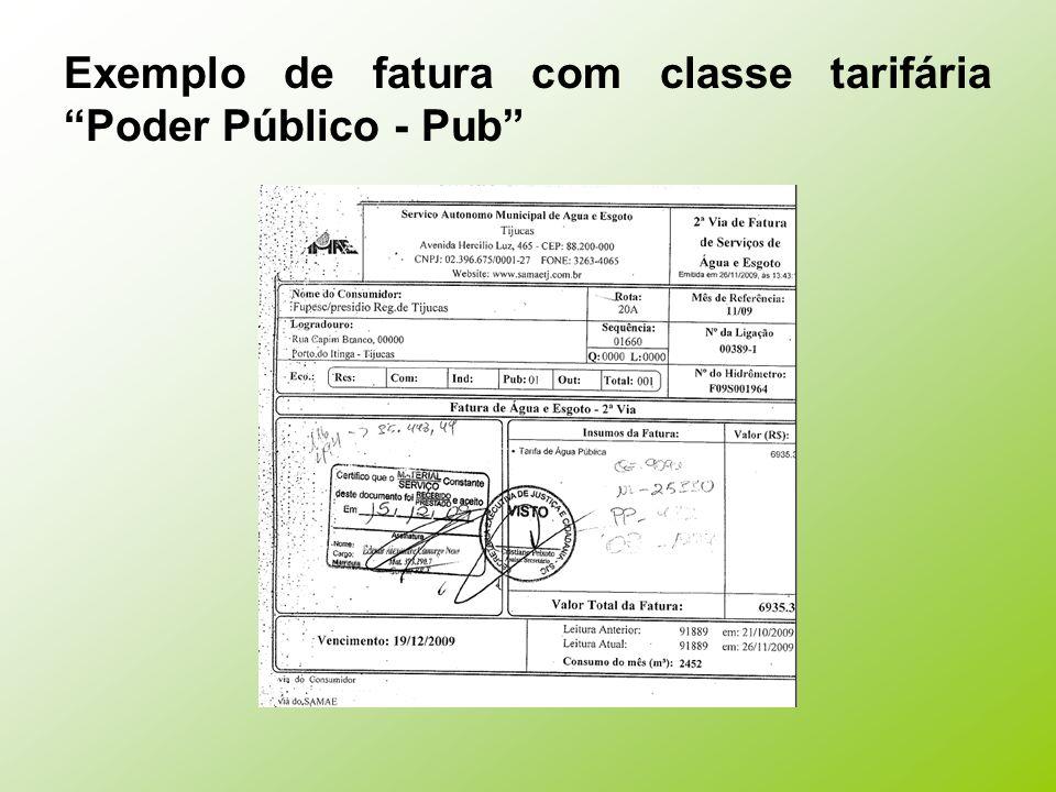 Exemplo de fatura com classe tarifária Poder Público - Pub