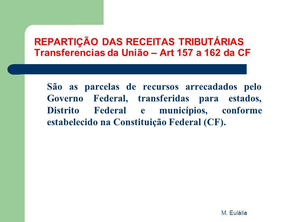 REPARTIÇÃO DAS RECEITAS TRIBUTÁRIAS Transferencias da União – Art 157 a 162 da CF