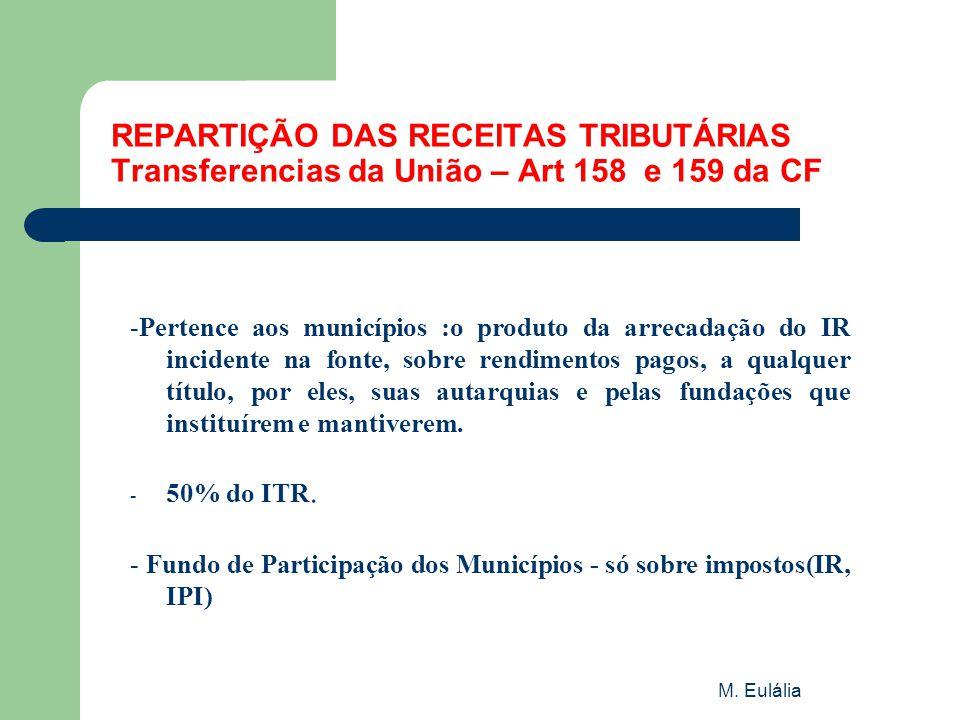 REPARTIÇÃO DAS RECEITAS TRIBUTÁRIAS Transferencias da União – Art 158 e 159 da CF