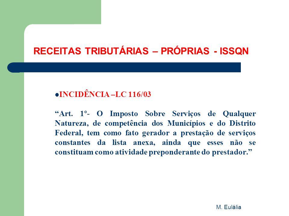 RECEITAS TRIBUTÁRIAS – PRÓPRIAS - ISSQN