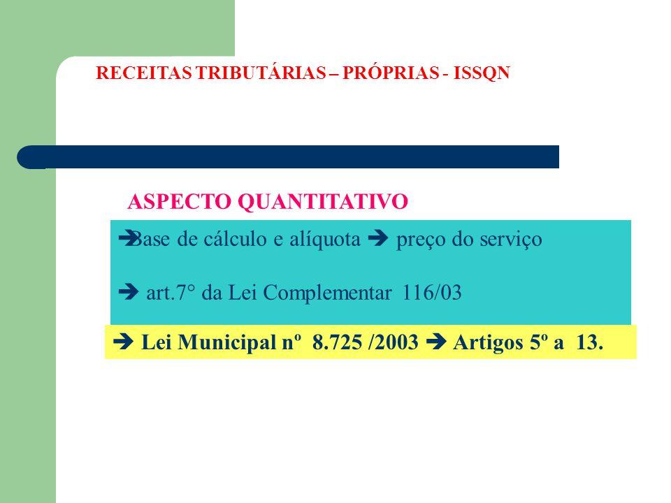 Base de cálculo e alíquota  preço do serviço