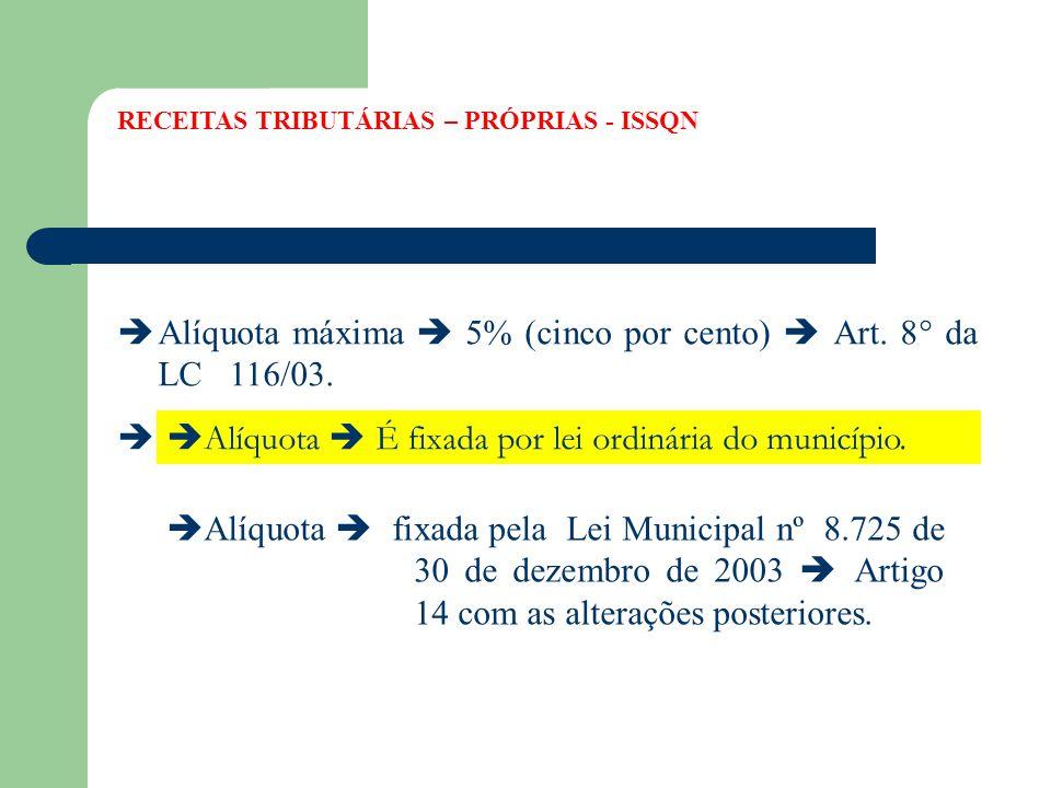 Alíquota máxima  5% (cinco por cento)  Art. 8° da LC 116/03.
