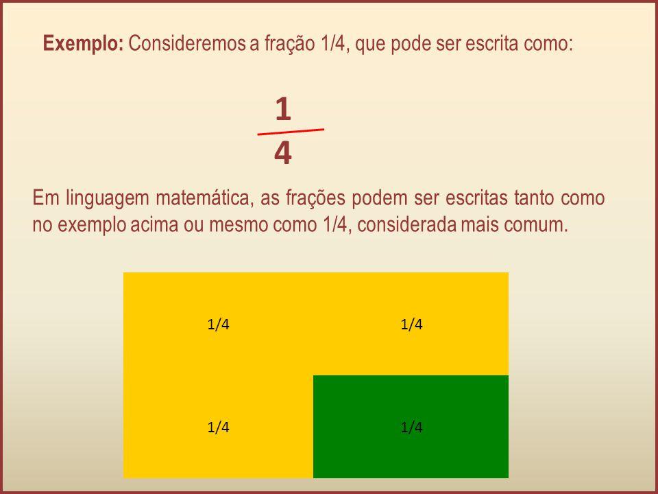 1 4 Exemplo: Consideremos a fração 1/4, que pode ser escrita como: