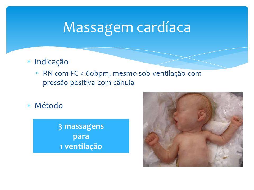 Massagem cardíaca Indicação Método 3 massagens para 1 ventilação