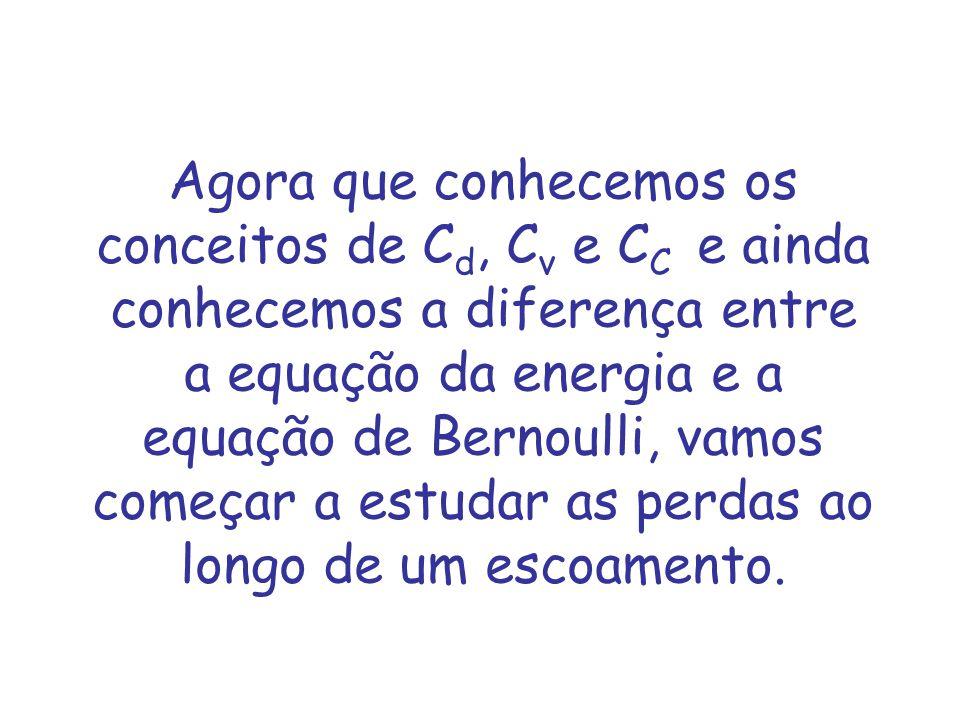 Agora que conhecemos os conceitos de Cd, Cv e CC e ainda conhecemos a diferença entre a equação da energia e a equação de Bernoulli, vamos começar a estudar as perdas ao longo de um escoamento.