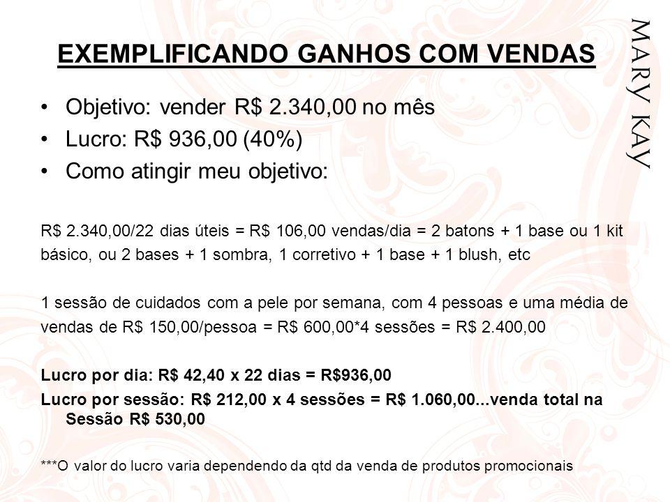 EXEMPLIFICANDO GANHOS COM VENDAS