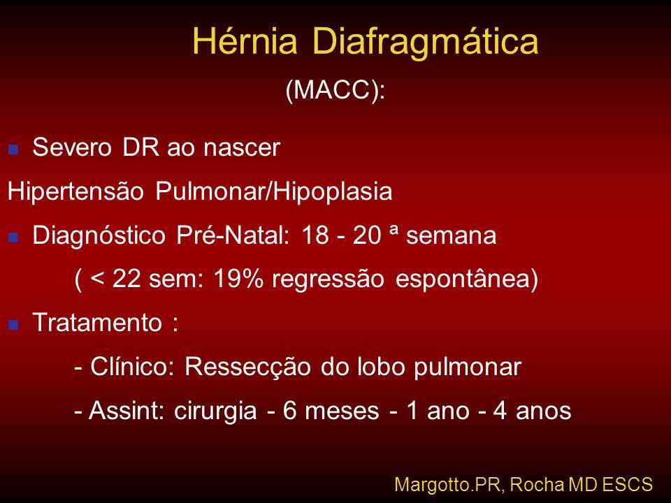 Hérnia Diafragmática (MACC): Severo DR ao nascer