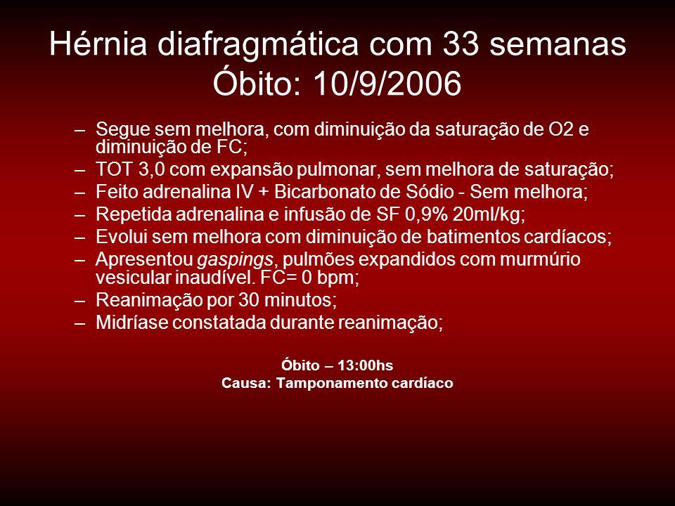 Hérnia diafragmática com 33 semanas Óbito: 10/9/2006
