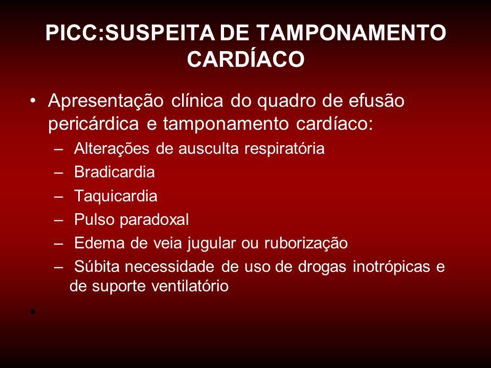 PICC:SUSPEITA DE TAMPONAMENTO CARDÍACO