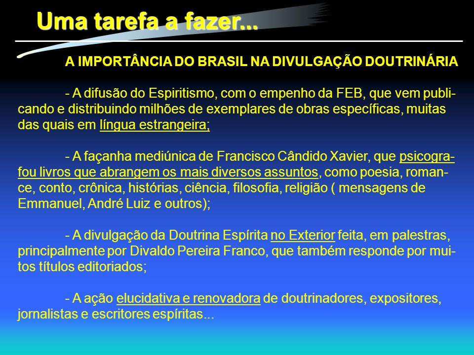 Uma tarefa a fazer... A IMPORTÂNCIA DO BRASIL NA DIVULGAÇÃO DOUTRINÁRIA.