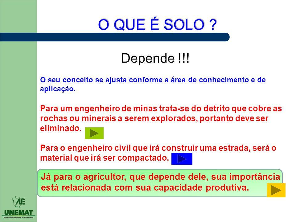O QUE É SOLO Depende !!! O seu conceito se ajusta conforme a área de conhecimento e de aplicação.