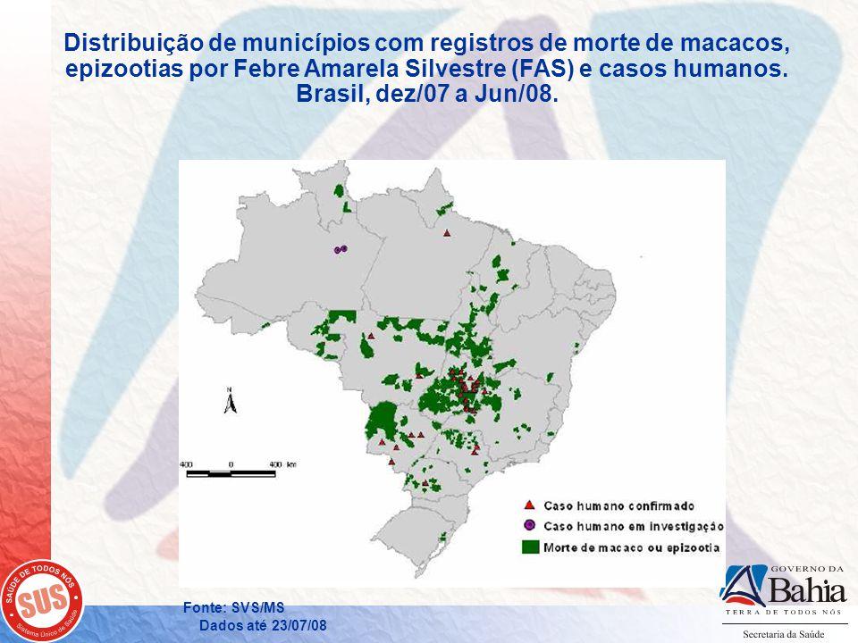 Distribuição de municípios com registros de morte de macacos, epizootias por Febre Amarela Silvestre (FAS) e casos humanos. Brasil, dez/07 a Jun/08.