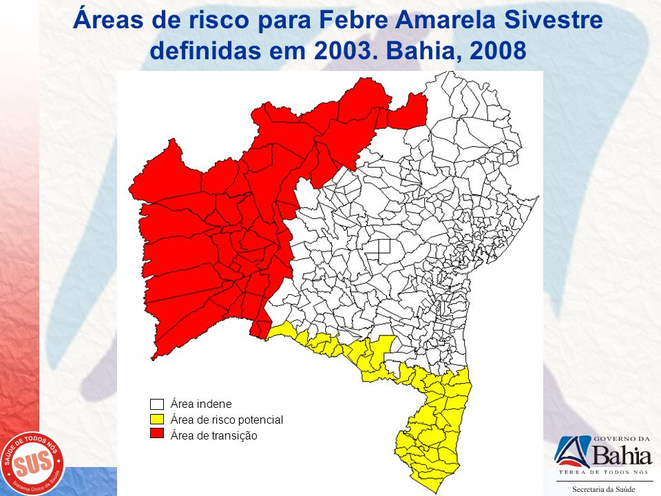 Áreas de risco para Febre Amarela Sivestre definidas em 2003