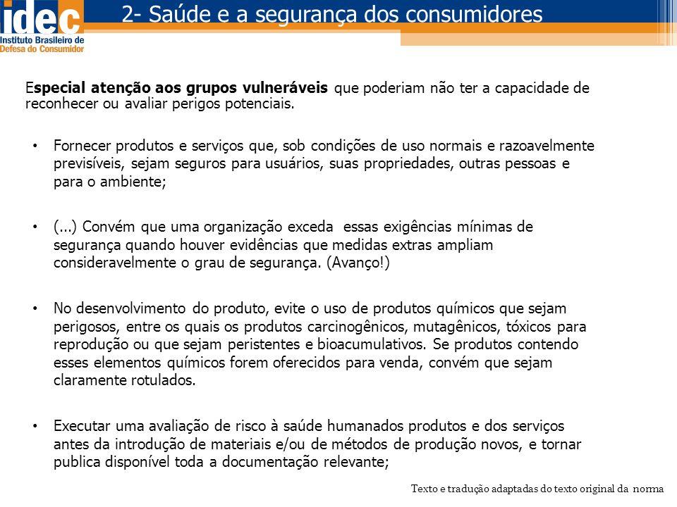 2- Saúde e a segurança dos consumidores