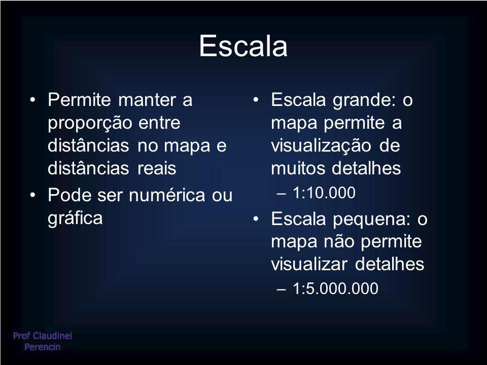 Escala Permite manter a proporção entre distâncias no mapa e distâncias reais. Pode ser numérica ou gráfica.